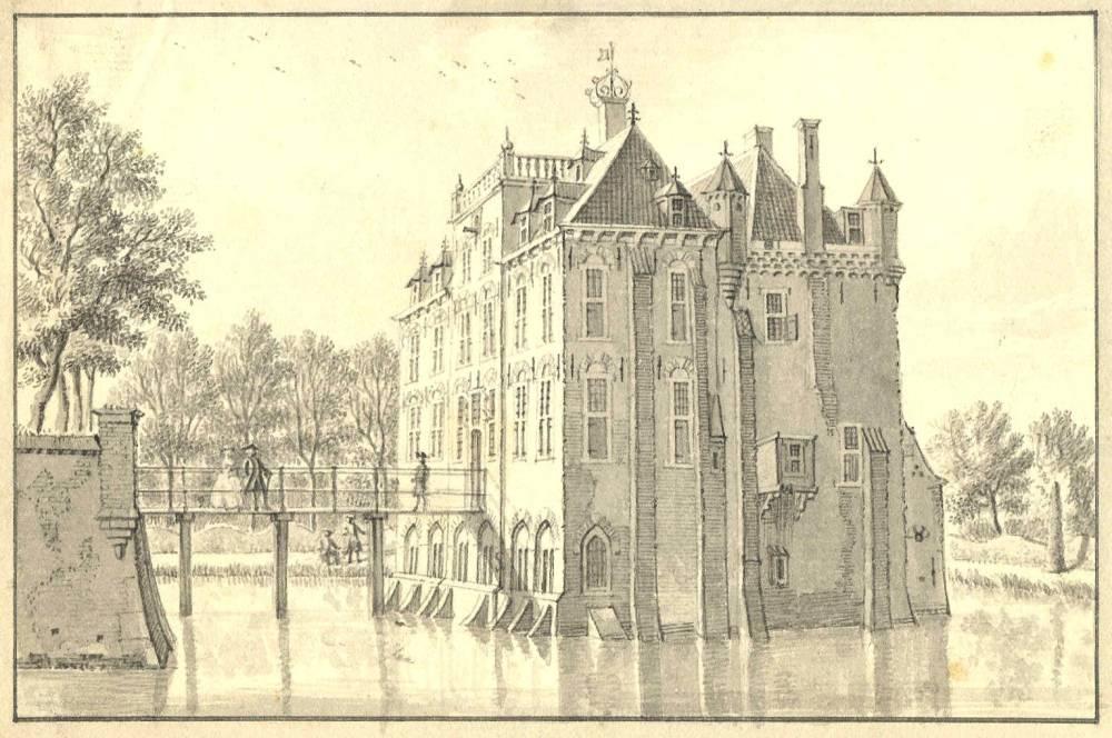 Kasteel Gellikum in Gellicum. Tekening Jan de Beijer, ca. 1745